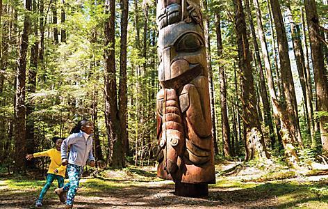alaska sitka totem kids playing hiking trail