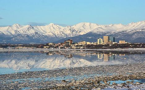 Skyline of Anchorage, Alaska with Glaciers in the Background