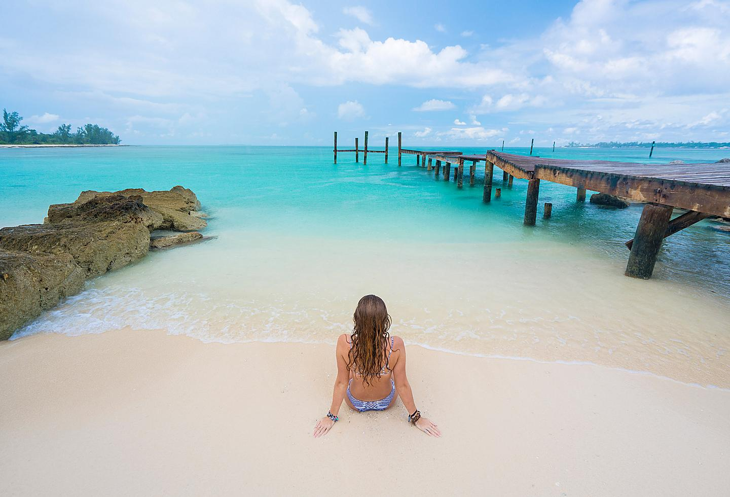 Woman Enjoying the Pristine Waters of the Bahamas