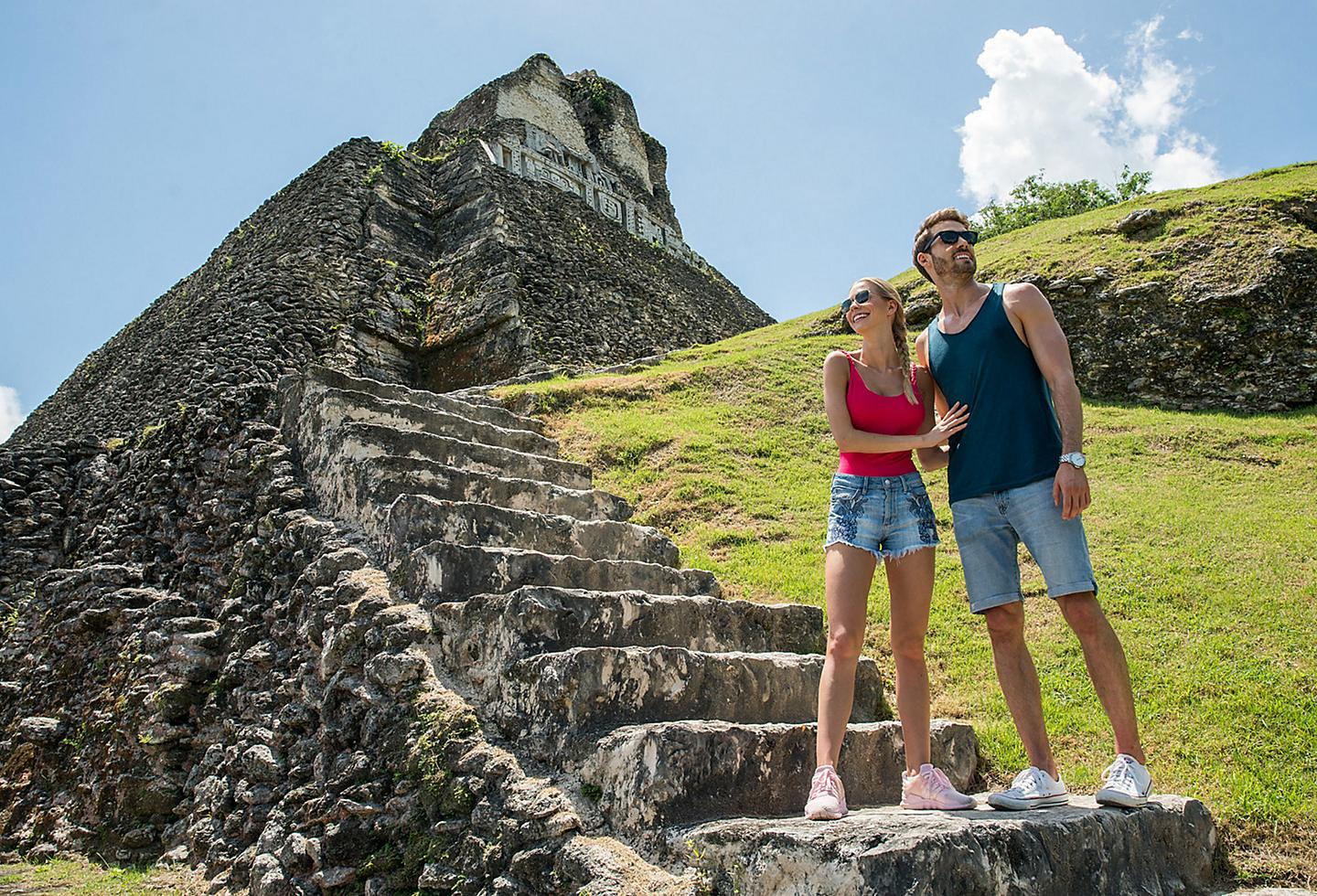 Belize City Mayan Empire Temple Couple Sightseeing