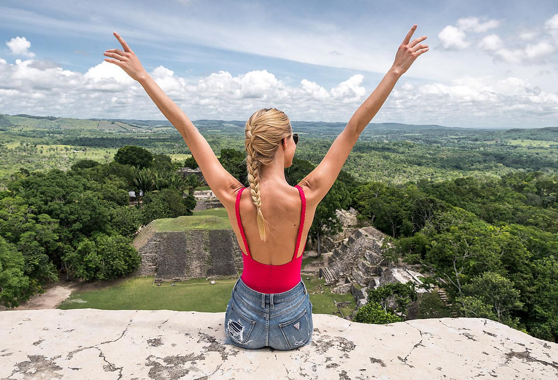 Belize Woman Enjoying the Horizon On Top of Ruins