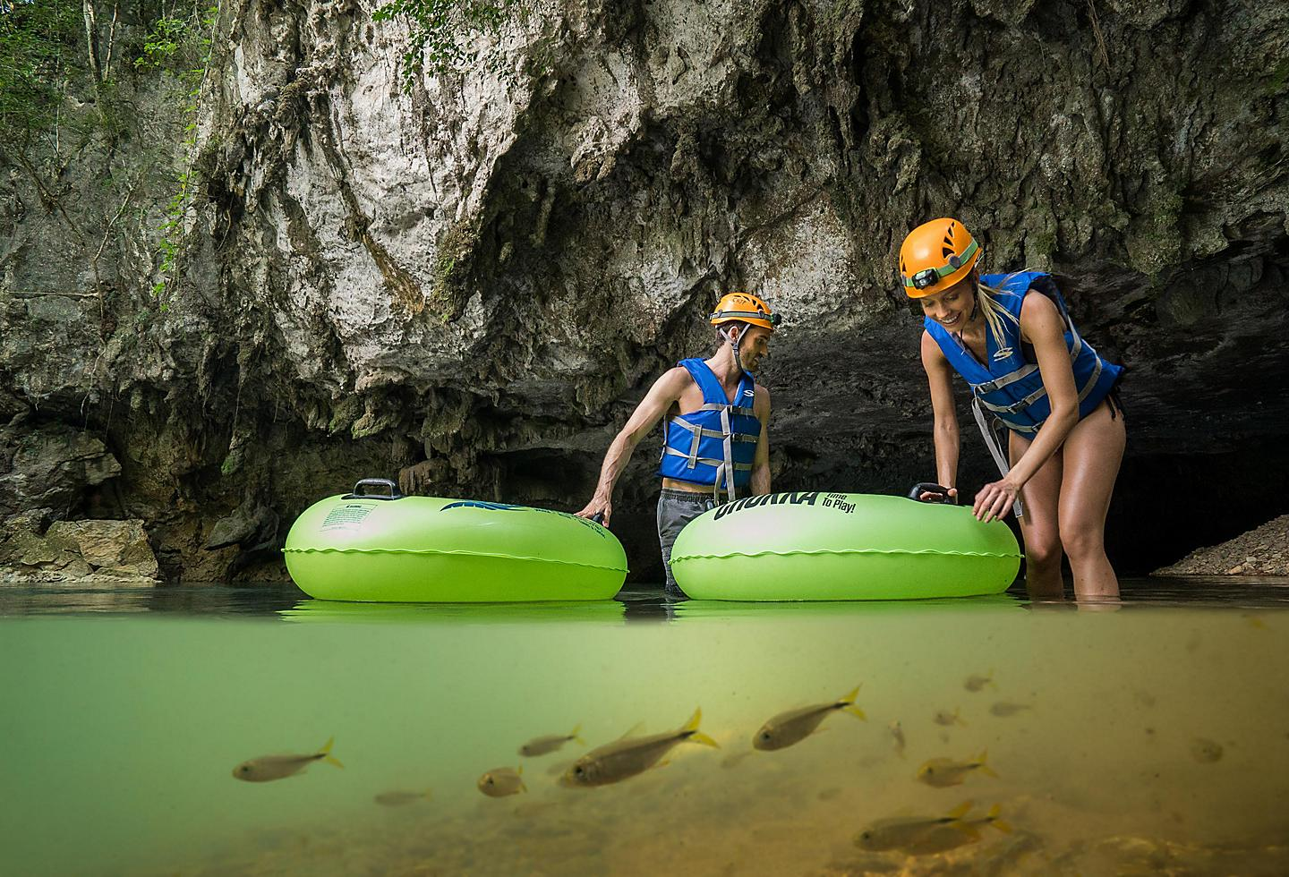 Underground Natural Lazy River in Limestone Cave, Belize