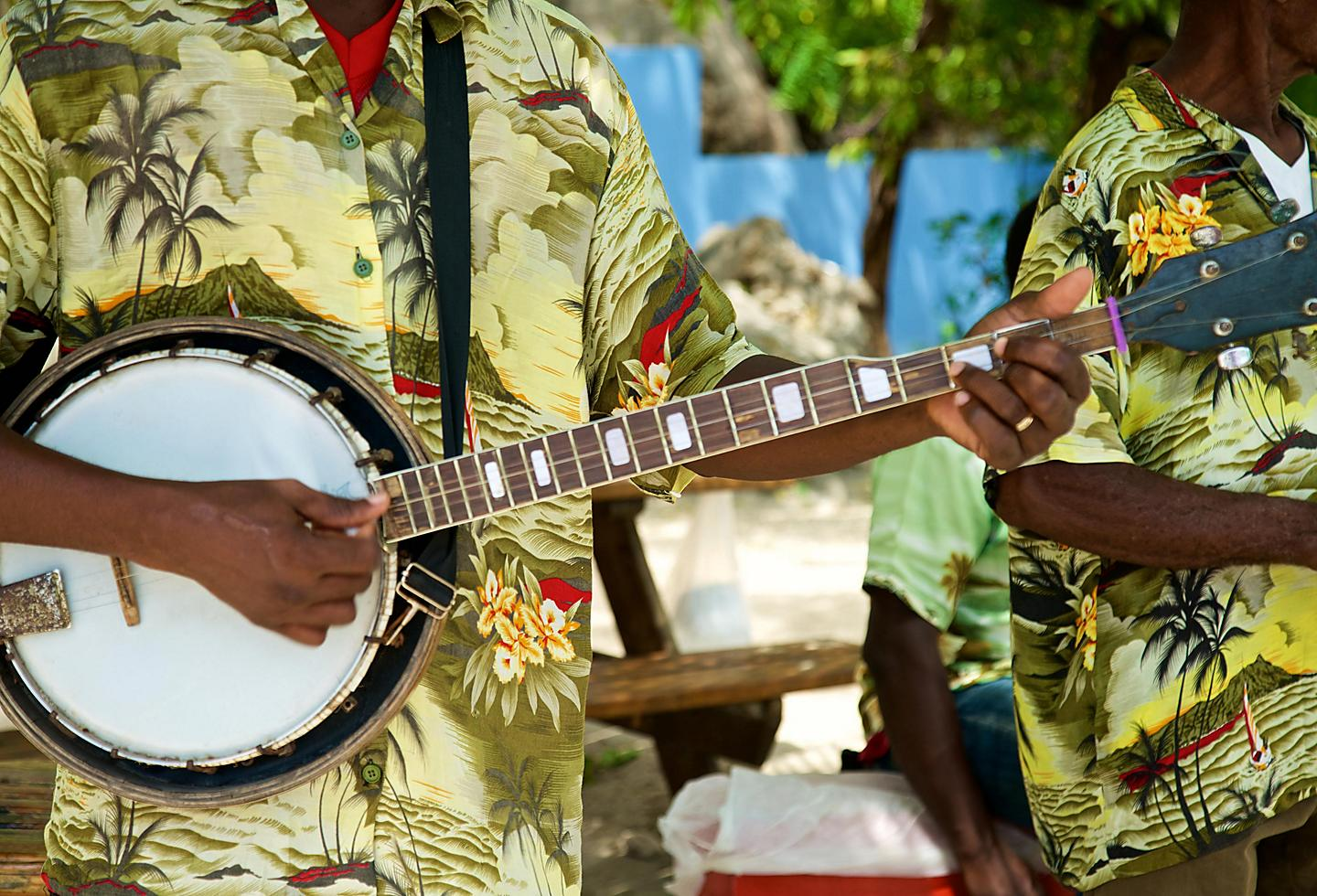 Traditional Caribbean Musicians Performing in the Streets