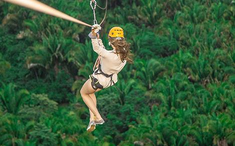 Girl on the Zip Line in the Middle of the Jungle