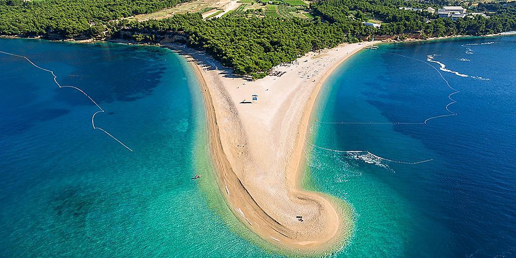 Croatia Brac Zlatni Rat Beach Triangle Clear Ocean