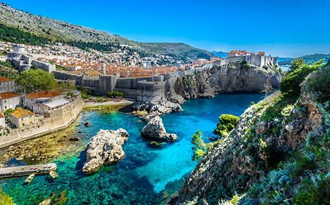 Cityscape Walls and Coastline in Dubrovnik, Croatia