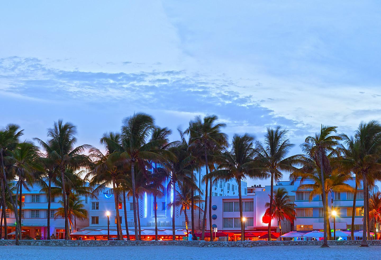 Art Deco architecture on Ocean Drive in Miami, Florida