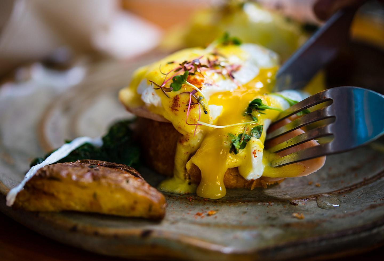 Eggs benedict for brunch in Miami, Florida