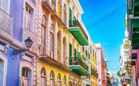 Old San Juan, Puerto Rico Cobblestone Street with Colorful Houses