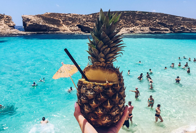 Malta Beach Pineapple Cocktail Sun
