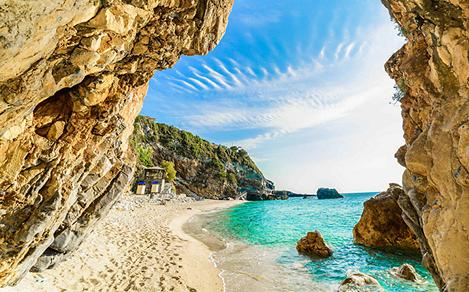 Corfu Cave Beach Rock Greece