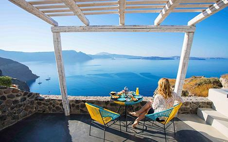 Greece Santorini Woman Enjoying the Coast View