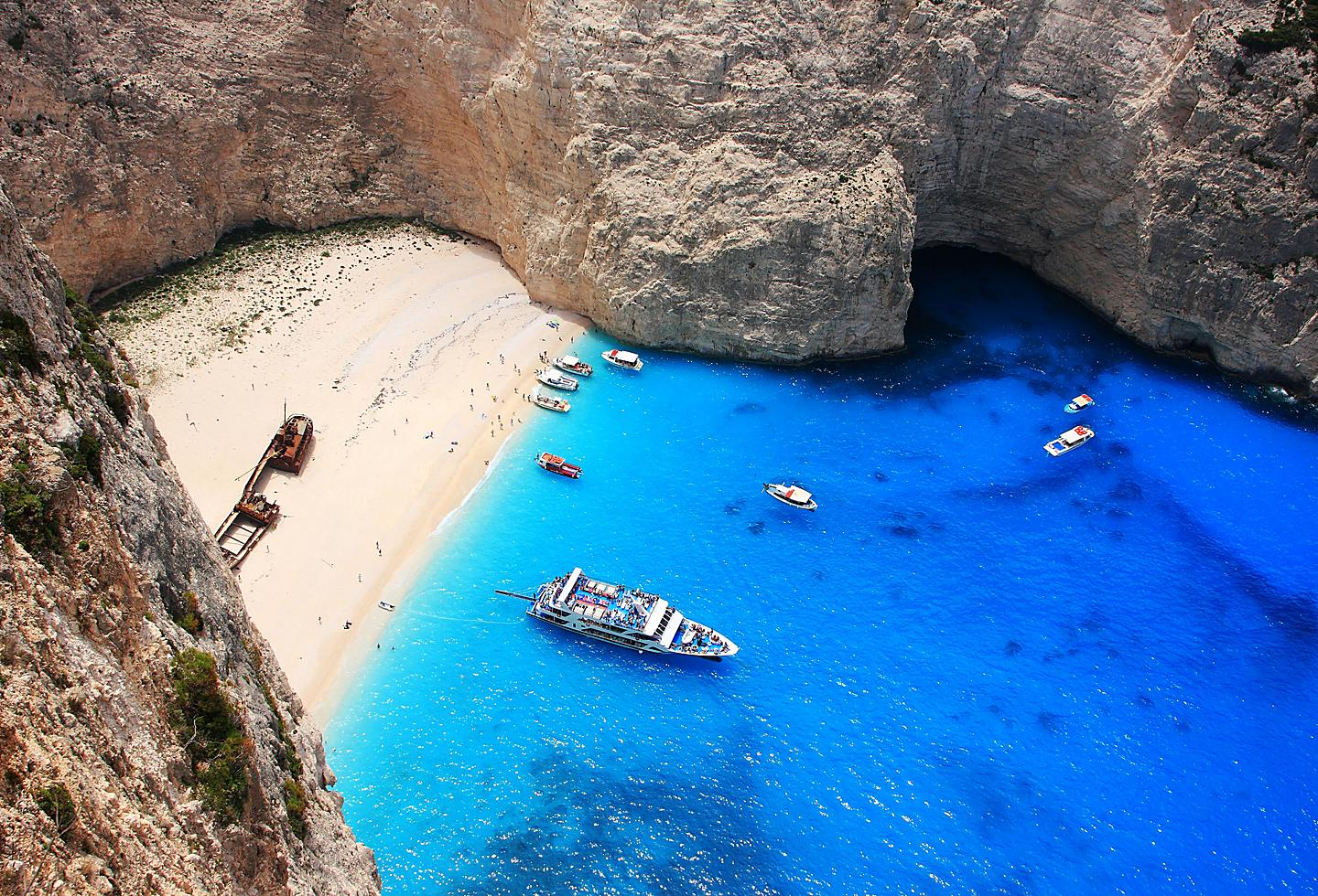 Greece Zakynthos Shipwreck Beach Blue Ocean