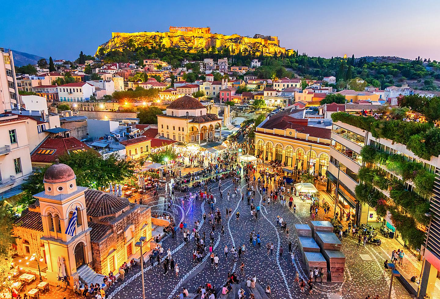 Nightime Plaza in Athens, Greece