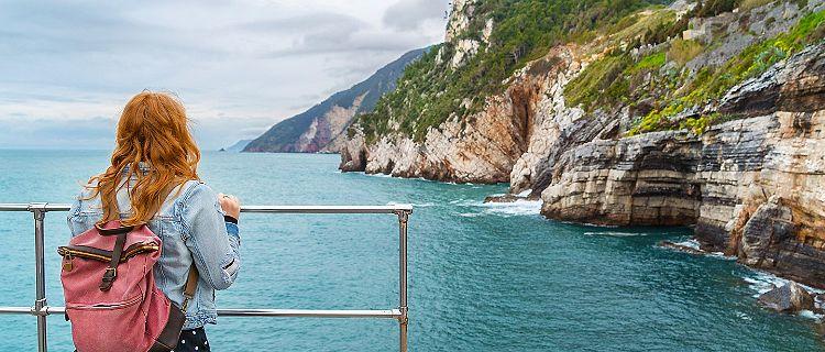 Woman Admiring the Coast of Italy