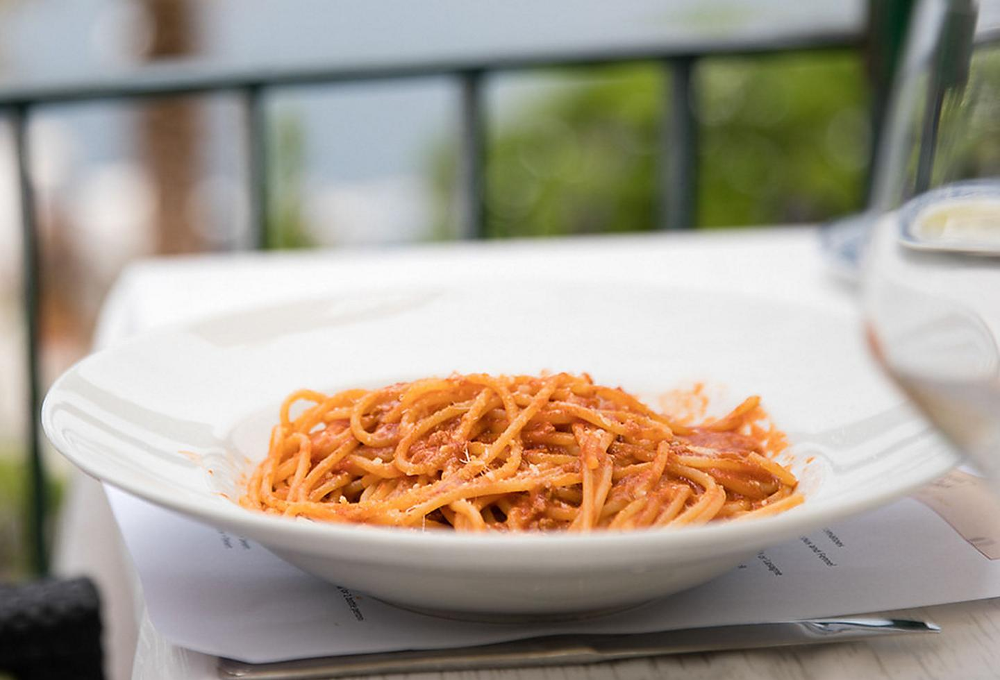 Italy Spaghetti with Tomato Sauce and Grated Cheese