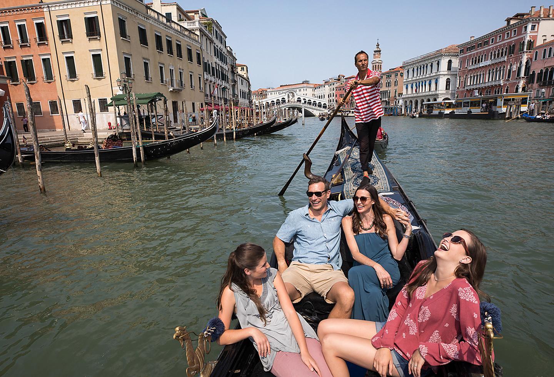 Italy Venice Family in Gondola