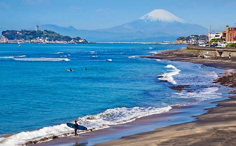 Beach with Mount Fuji in the Background