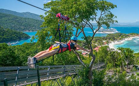 Girl on the Longest Zip Line in the Caribbean