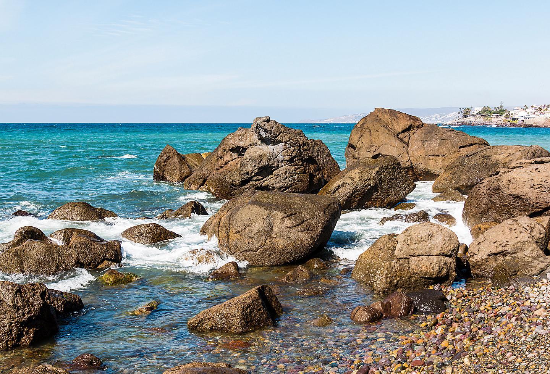 Baja Coast Ensenada Mexico, Rocks in the Beach.