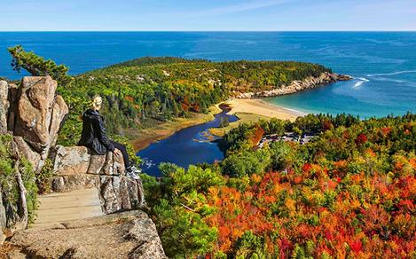 Maine Acadia Woman Enjoying The View Of Fall Foliage And The Ocean