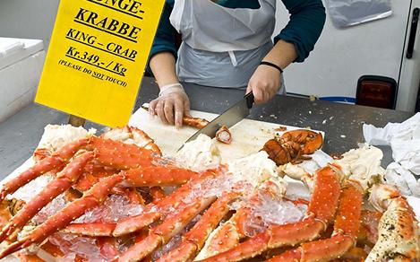 Crab Legs being Cut