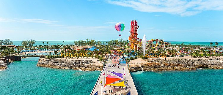 Arrivals Plaza Perfect Day at Coco Cay Aerial