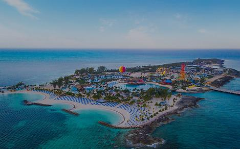perfect day coco cay island aerial balloon gradient