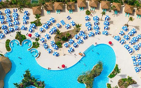 Perfect Day Coco Cay Oasis Lagoon Cabana Aerial Close Up