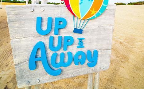 perfect day cococay up up away balloon sign tile