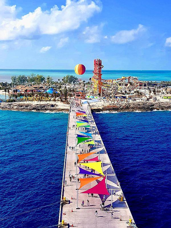 Aerial view of entrance of Perfect Day at CocoCay.