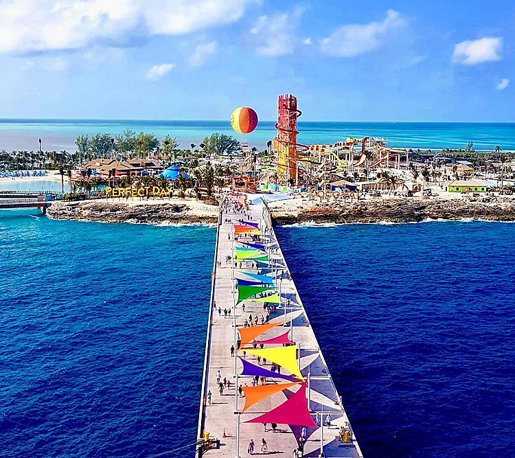 Aerial views of Perfect Day at CocoCay
