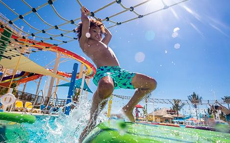 Kid having fun at the Adventure Pool at Perfect Day at CocoCay
