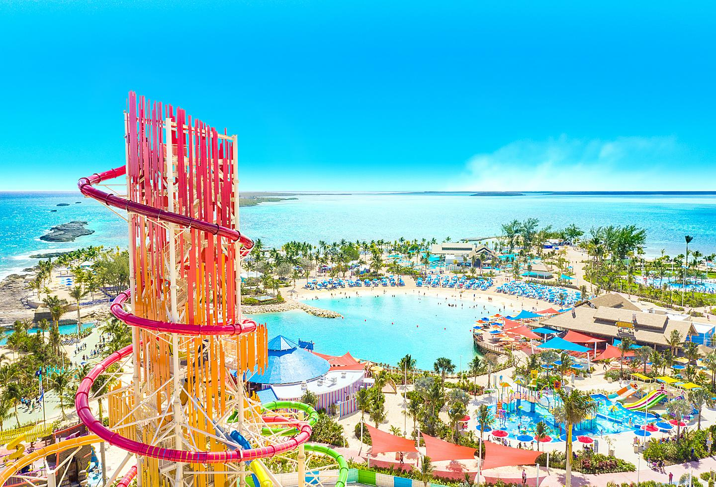 Aerial View of Slides at Perfect Day Island at Cococay