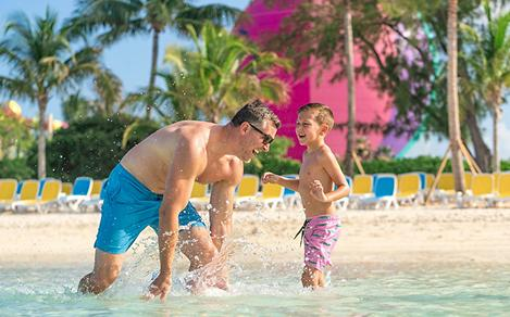 Perfect Day Coco Cay Beach Father Son Playing Splash