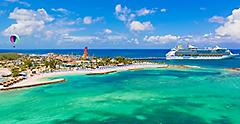 Perfect Day Coco Cay Aerial with Cruise Ship