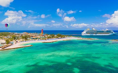 Coco Cay Pier Aerial with Cruise Ship Docked