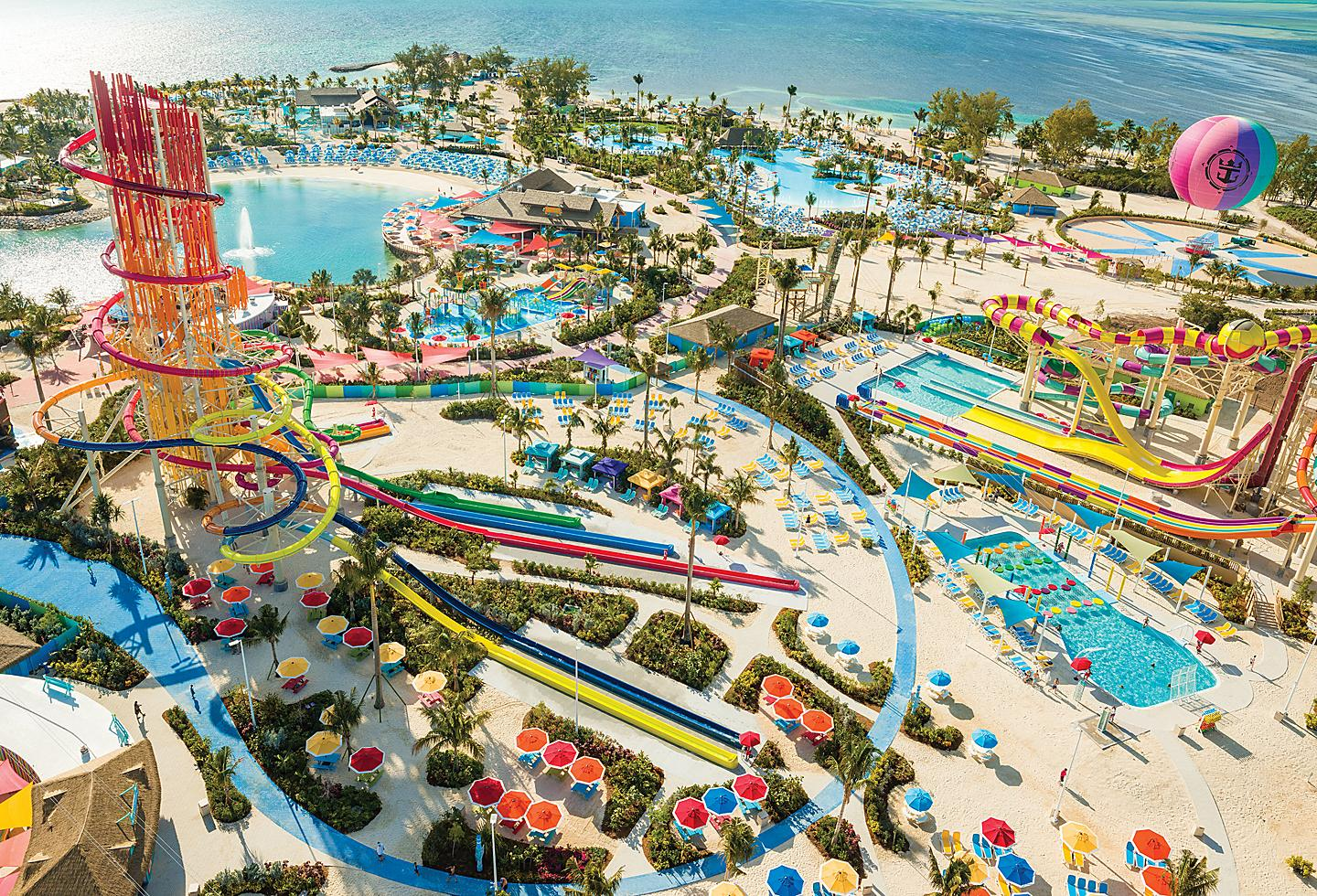 Perfect Day Coco Cay Island Aerial Sunny Day, Thrill Waterpark