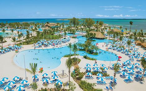 Perfect Day Coco Cay Oasis Lagoon Aerial with Cabanas