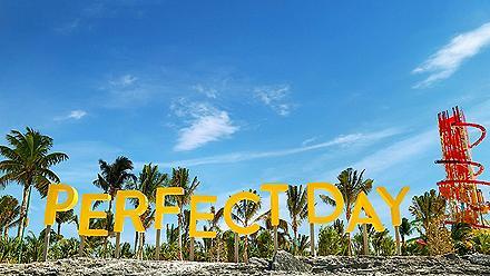 Coco Cay Pier Sign with Dare Devil's Peak in the Background