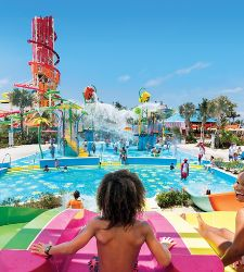 Splashaway Bay Slides Brother and Sister Competing