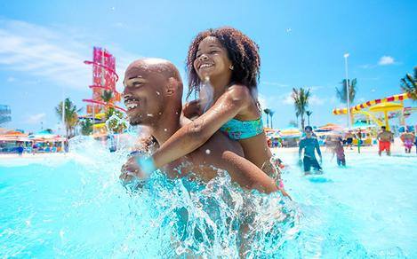 Father and Daughter Enjoying the Tidal Wave Pool