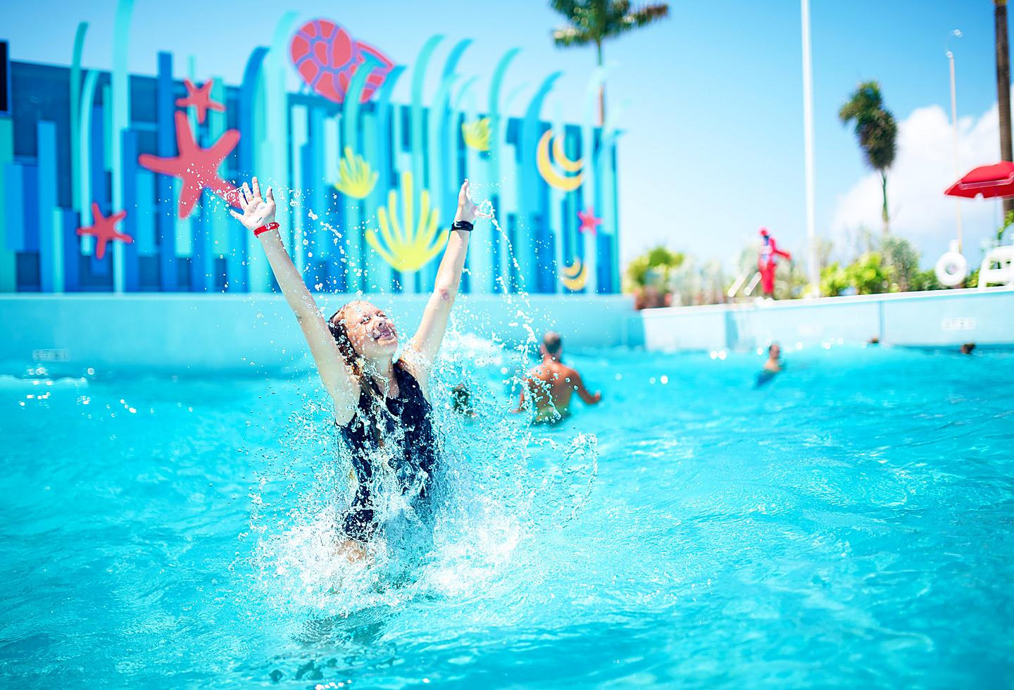 Girl Splashing in Tidal Wave Pool, Perfect Day at Cococay
