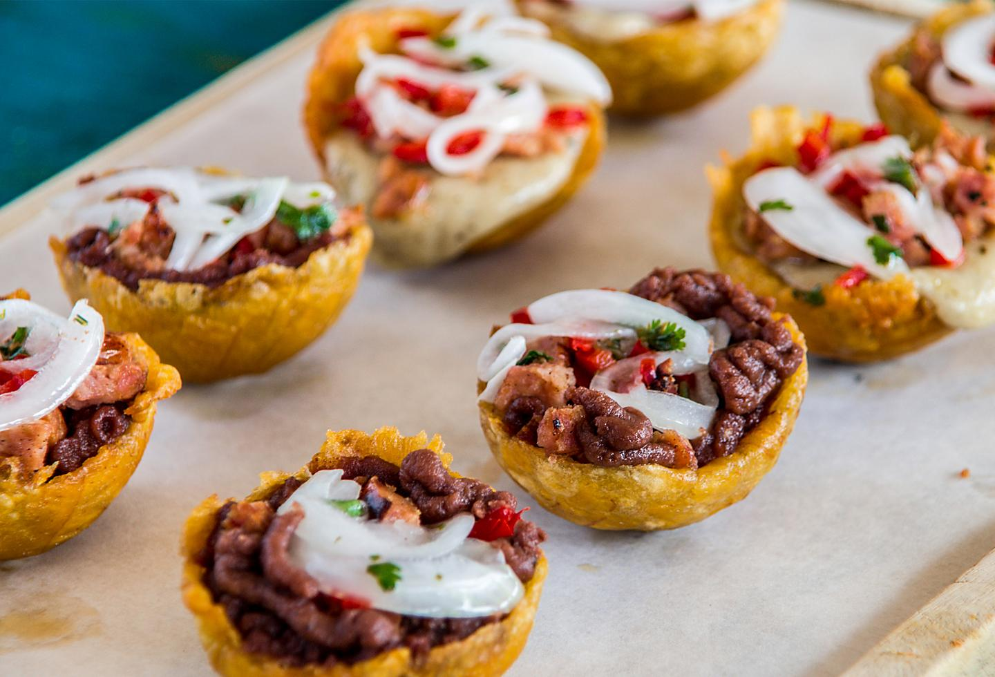 Tostones, Plantain with Beef, Onion and Peppers