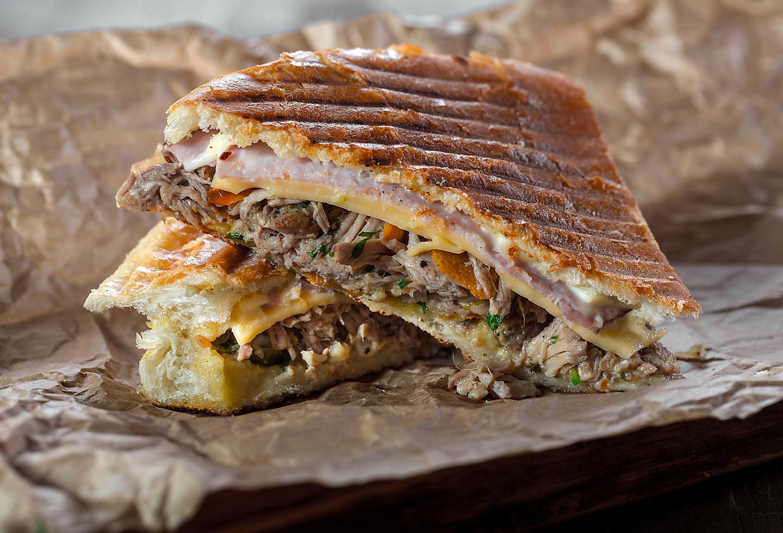 Chicken, Steak and Ham Sandwich, Traditional Puerto Rican Tripleta