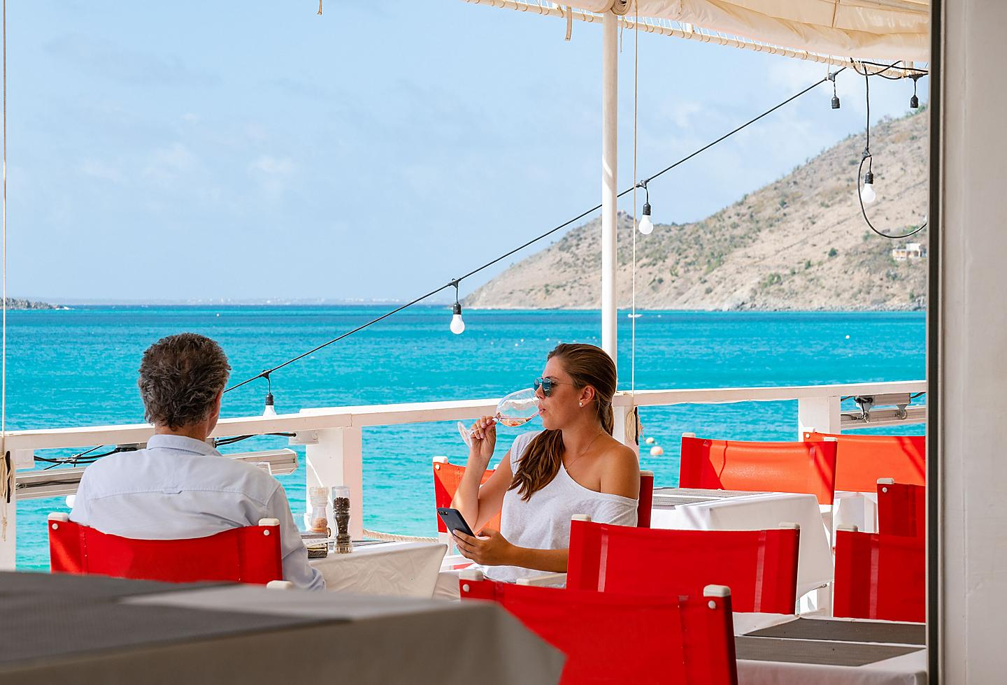 Foodie Couple Enjoying Beautiful St. Maarten Ocean View.