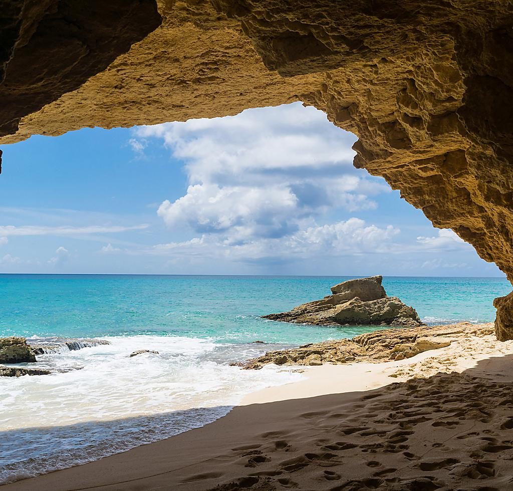 Southern Caribbean Beach Cave in St Maarten
