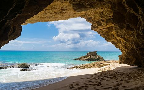 View of the Beach from a Cave