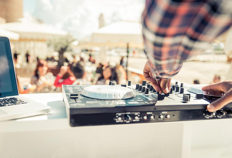 Ibiza, Spain, DJ mixer close up