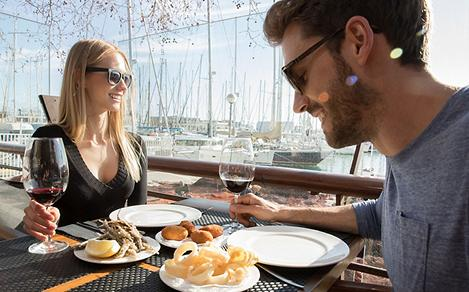 Spain Traditional Tapas Couple Enjoying Wine and Appetizers